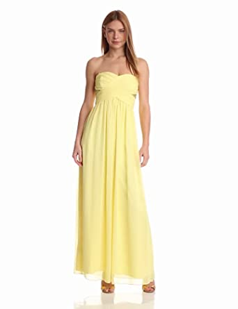 maxandcleo Women's Strapless Floor Length Dress, Custard, 2