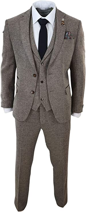 1920s Men's Clothing Mens Oak 3 Piece Tweed Suit Herringbone Wool Vintage Retro Fit Blinders £119.99 AT vintagedancer.com