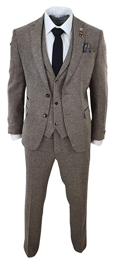 1920s Fashion for Men Mens Oak 3 Piece Tweed Suit Herringbone Wool Vintage Retro Fit Peaky Blinders $188.99 AT vintagedancer.com