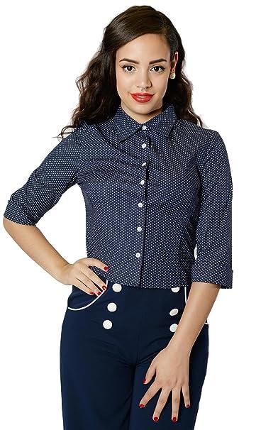 collectif Virginia Long Sleeve Camiseta blous Pin Up Blusa – Azul Oscuro Rockabilly azul oscuro S