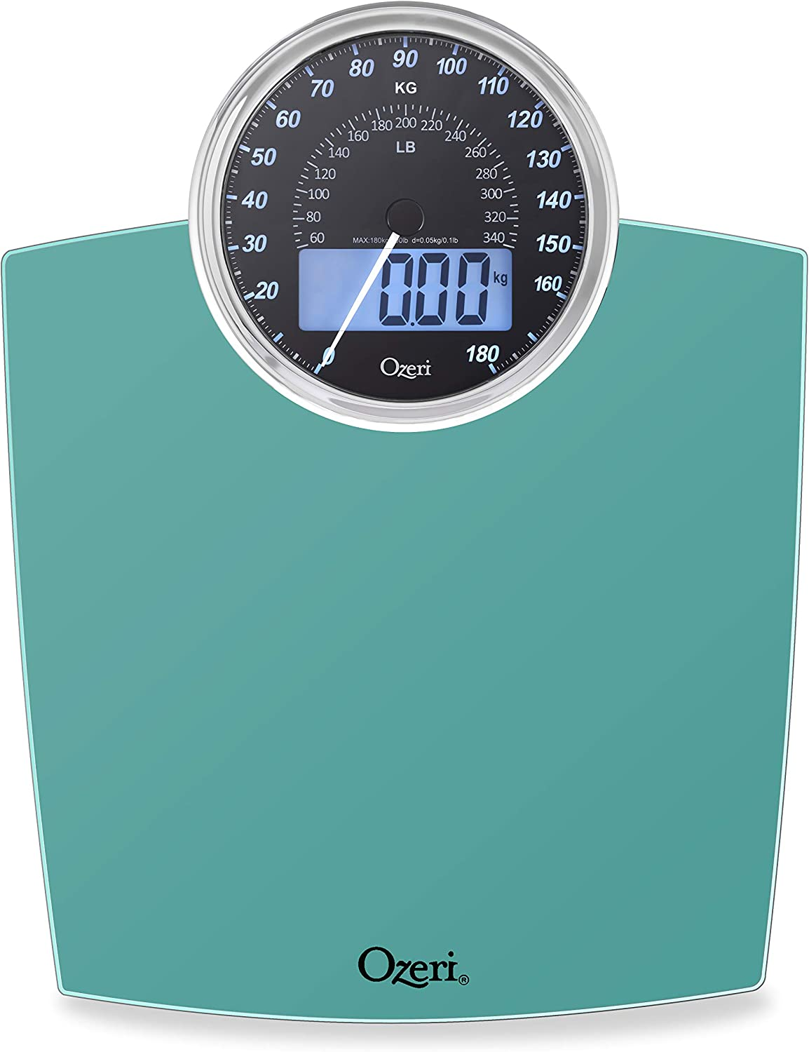 Amazon Com Ozeri Rev 400 Lbs 180 Kg Bathroom Scale With Electro Mechanical Weight Dial And 50 Gram Sensor Technology 0 1 Lbs 0 05 Kg Teal Blue Health Personal Care