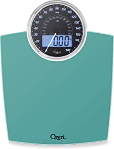 Ozeri Rev Digital Bathroom Scale with Electro-Mechanical Weight Dial Teal