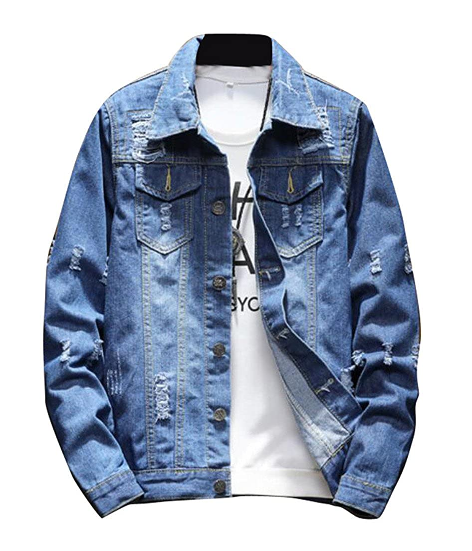 BYWX-Men Classic Slim Fit Jean Jacket Denim Wash Coat Jacket