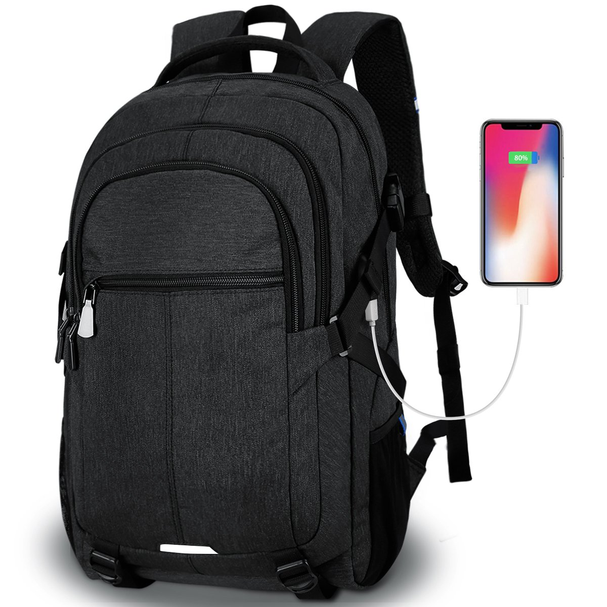 Tocode Laptop Backpack,Travel Backpacks for Men Water Resistant Backpack with USB Charging Port Large Multi-Compartments Student School Backpack Fits 15.6 inch Laptop and Notebook -Black TD-2230-Black-Xin