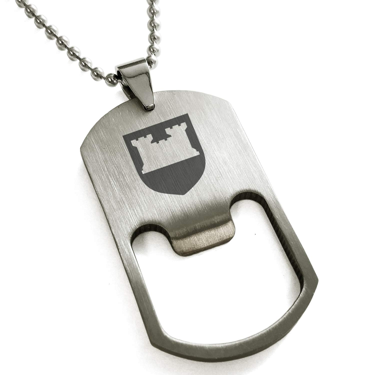 Tioneer Stainless Steel Castle Protection Coat of Arms Shield Engraved Bottle Opener Dog Tag Pendant Necklace