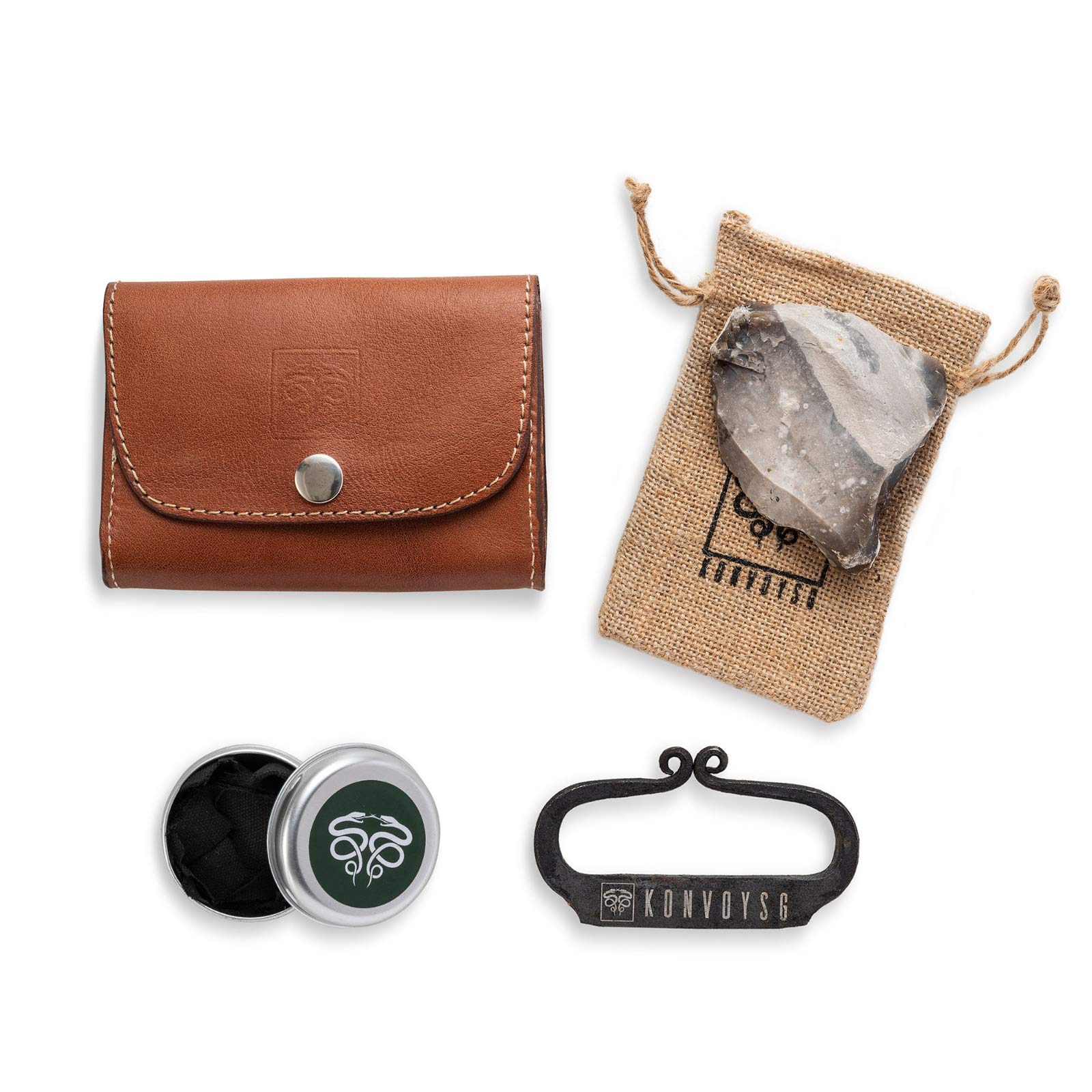 KonvoySG Flint and Steel Kit. Fire Striker, English Flint Stone & Char Cloth Traditional Hand Forged Fire Starter with a Leather Gift Pouch and Emergency Tinder Jute Bag (Coyote Brown)