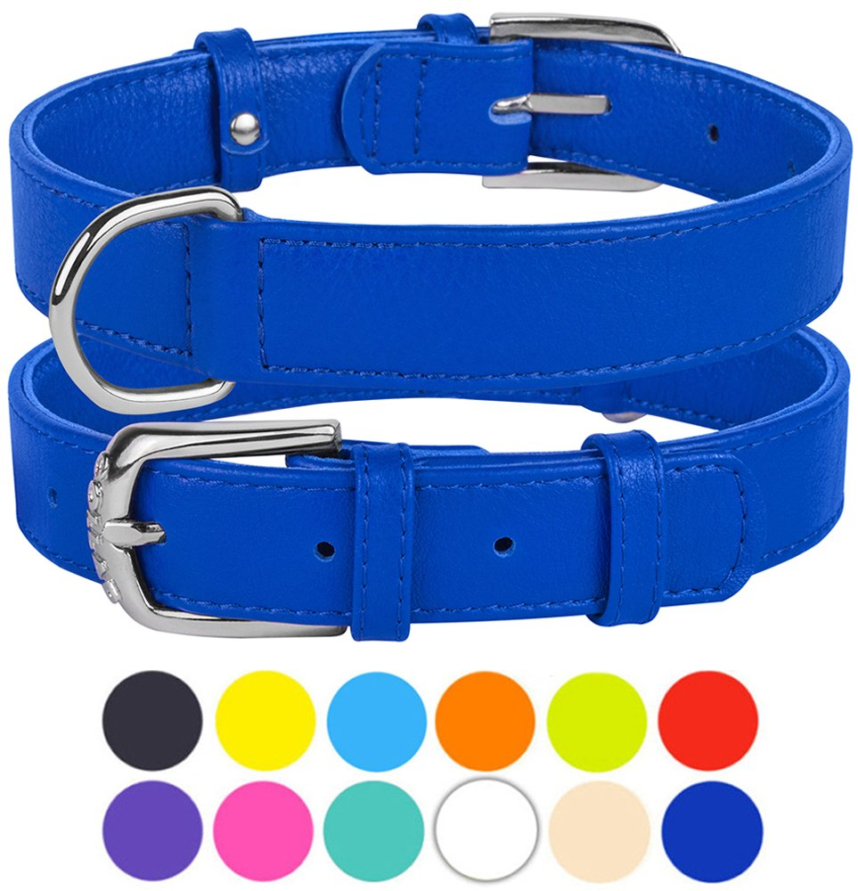 Dark bluee Size XL Neck Fit 19\ Dark bluee Size XL Neck Fit 19\ CollarDirect Genuine Leather Dog Collar 12 colors, Soft Padded Collars for Puppy Small Medium Large, Mint Green Black Pink White Red bluee Purple (Dark bluee, Size XL Neck Fit 19 -21 )