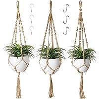 POTEY 610305 Macrame Plant Hanger - Hanging Planters with 6 Hooks, 3 Different Pack Decorative Flower Pot Holder Indoor…