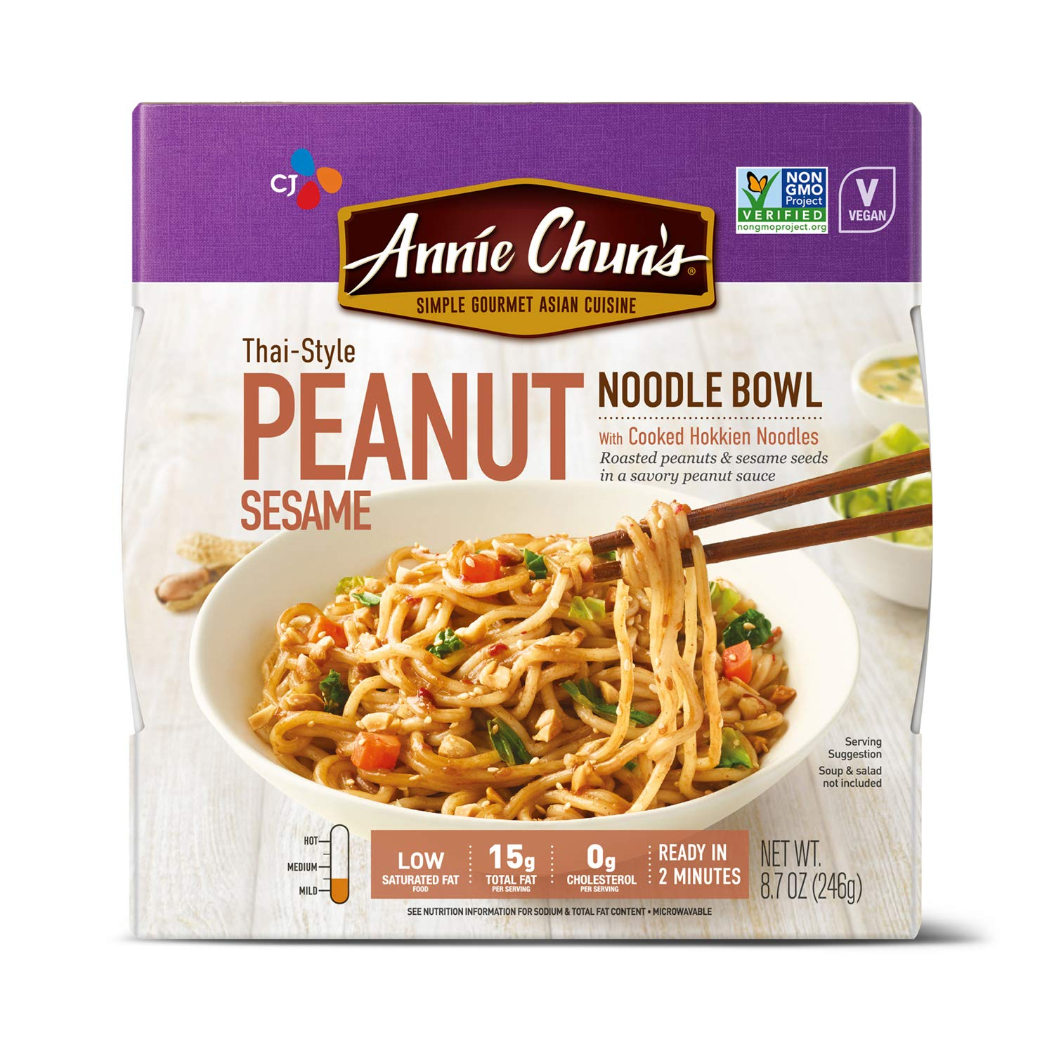 Annie Chun's Peanut Sesame Noodle Bowl | Non-GMO, Vegan, Shelf-Stable, 8.7 Ounce (Pack of 6) | Thai-Style Microwaveable Ready Meal