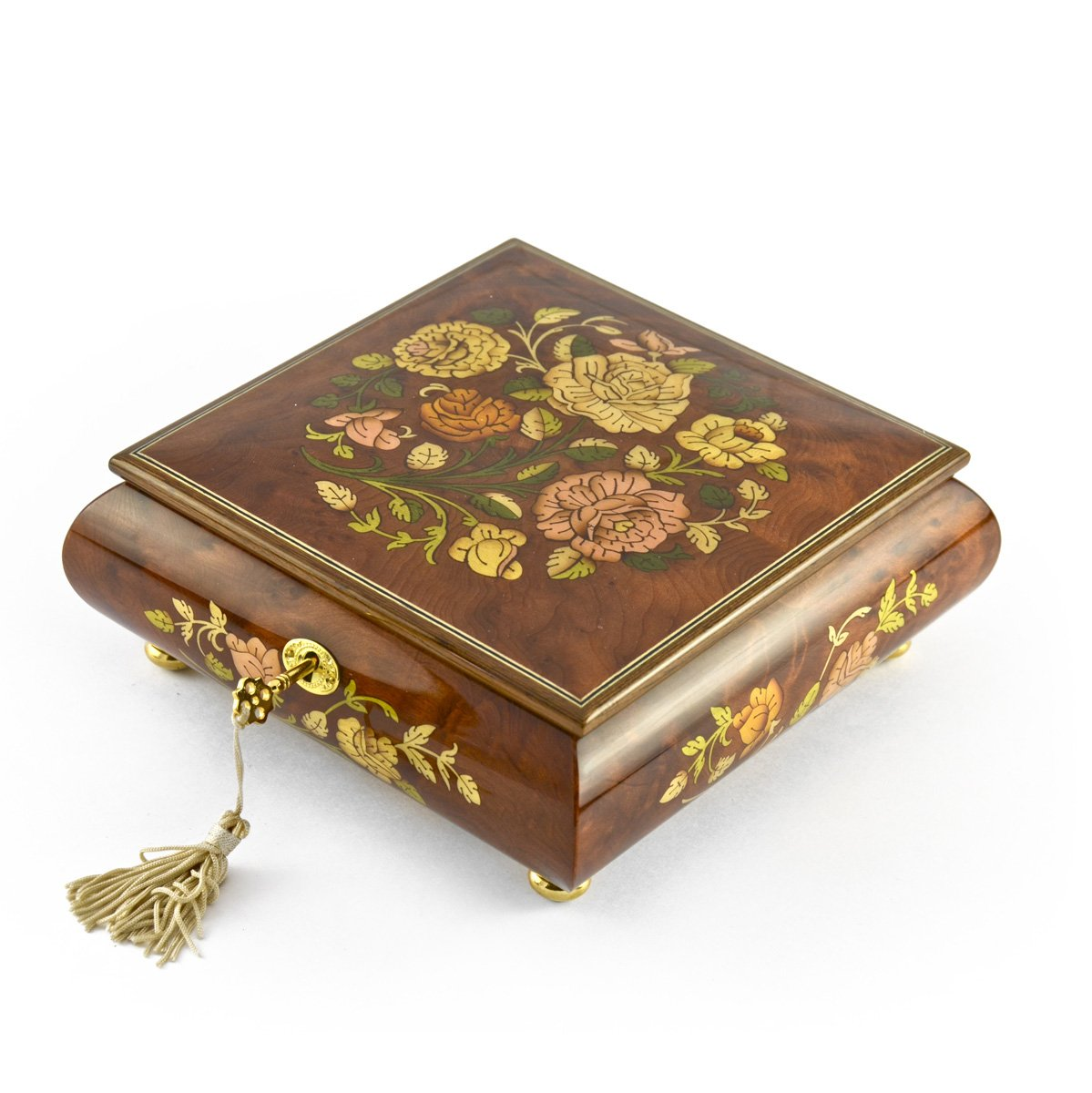 Gorgeous 18 Note Spring Roses Inlay Musical Jewelry Box with Lock and Key - Rock of Ages - Christian Version by MusicBoxAttic