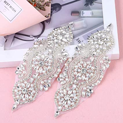 52a51164a8b5 Amazon.com  2 Pieces Gorgeous Beaded Applique with Clear Rhinestone ...