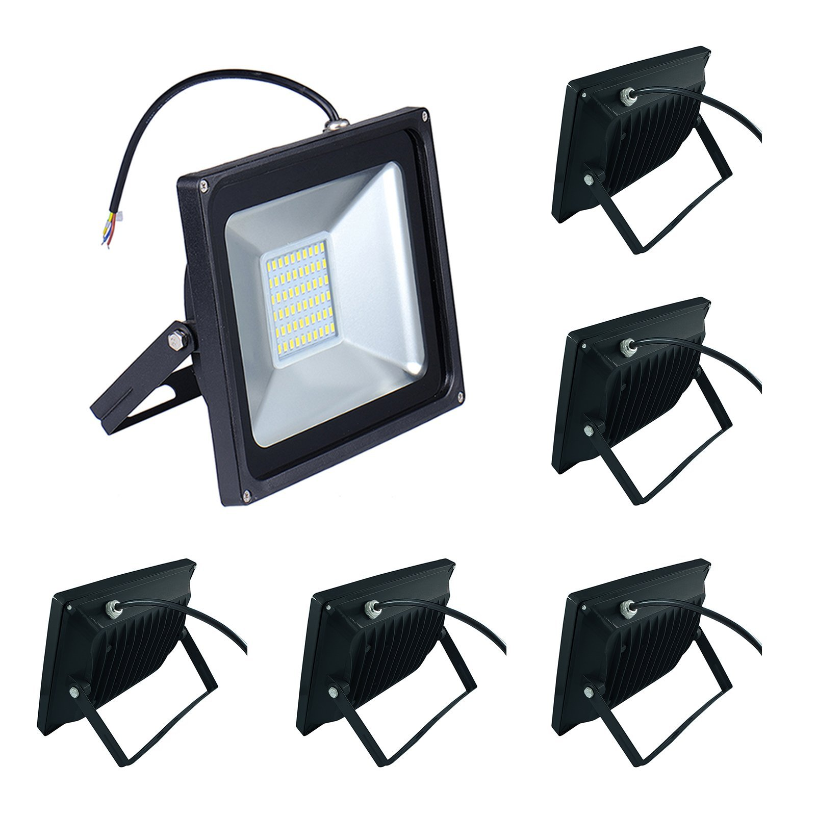 6-Pack 50W LED Floodlight,Low-energy Warm White Spotlight,IP65 Waterproof Outdoor&Indoor Security Flood Light Landscape Lamp