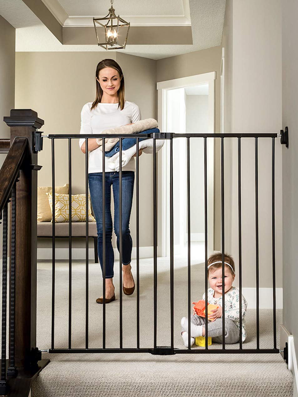 Regalo 2-in-1 Extra Tall Easy Swing Stairway and Hallway Walk Through Baby Gate, Black by Regalo