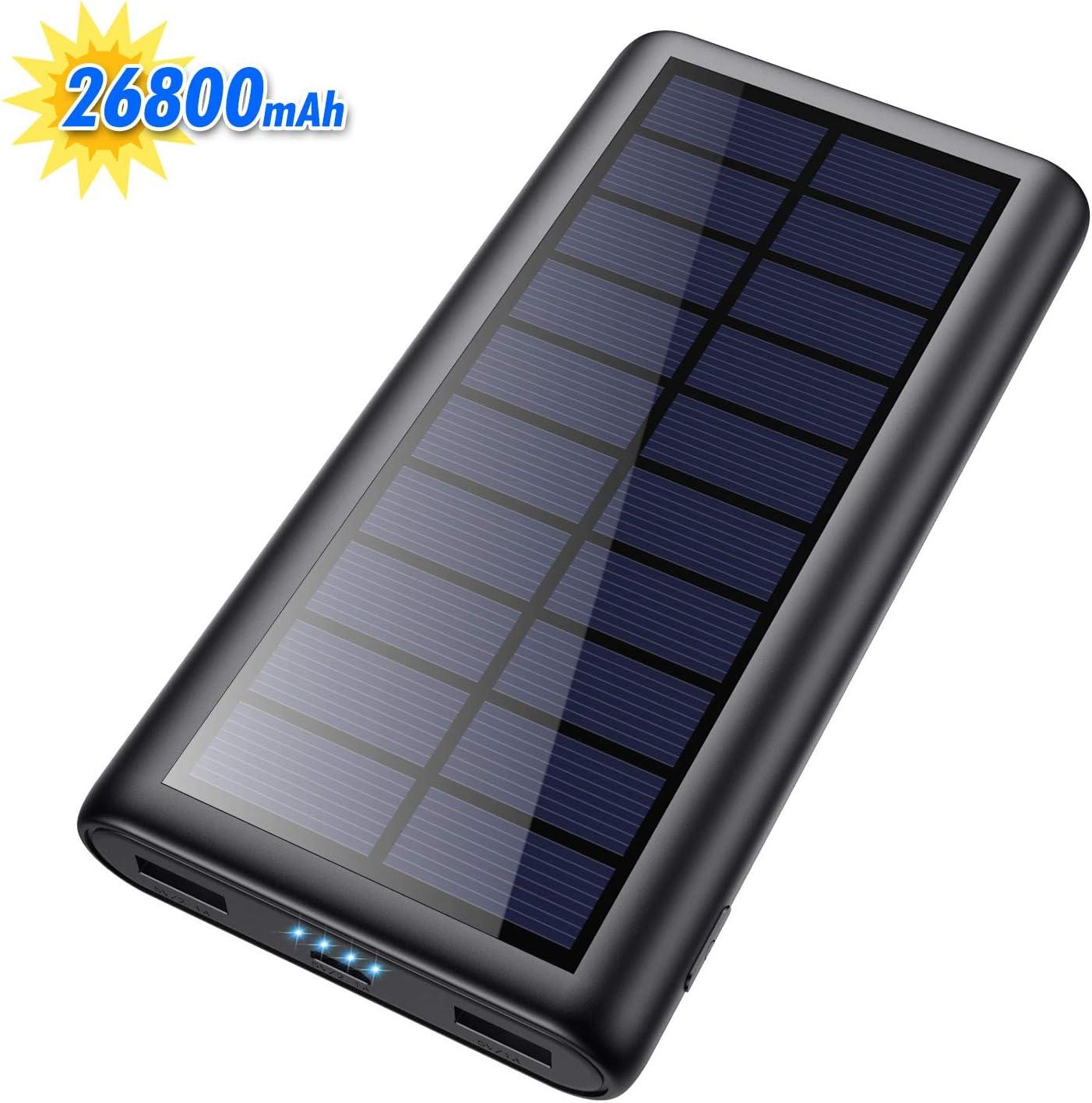 HETP Cargador Solar 26800mA Power Bank con 2 USB Puertos de Salida Simultánea Batería Externa Solar Powerbank Carga Rapida para Teléfono Inteligente,Ipad,Tablet,Drone,Reloj Inteligente,Cámara etc