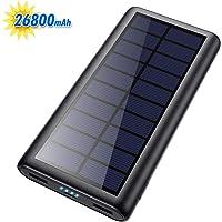 HETP Cargador Solar 26800mAh Power Bank con 2 USB Puertos de Salida Simultánea Batería Externa Solar Powerbank Carga…