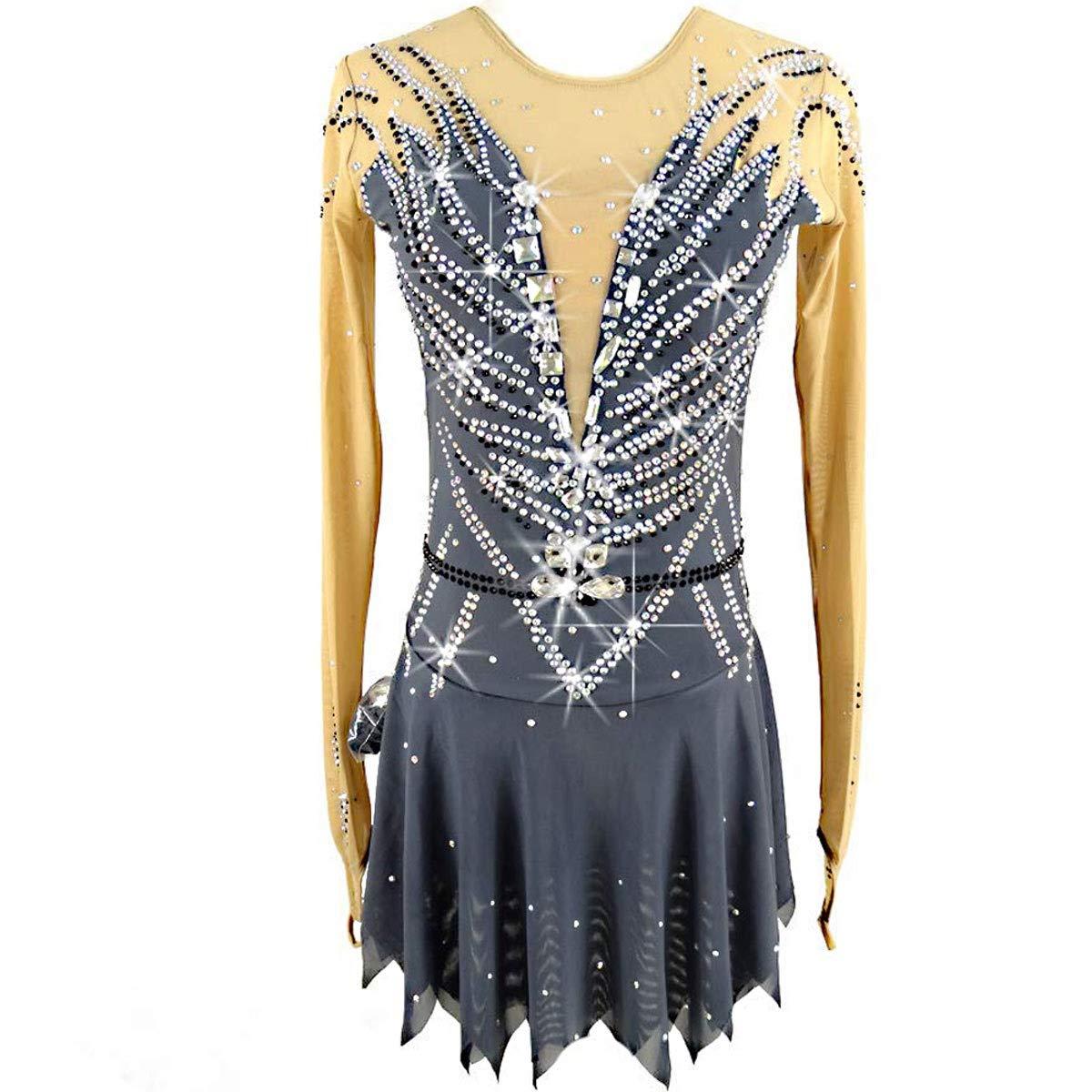 フィギュアスケートドレス女性女子アイススケートのパフォーマンス競争コスチュームグレースパンデックスラインストーン手作りスケート長袖を着用してください グレー Child8