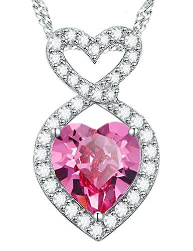 b6034e9e90c4 Anniversary Birthday Gifts for Her for Women Infinity Double Love Hearts  Pink Tourmaline October Birthstone Necklace