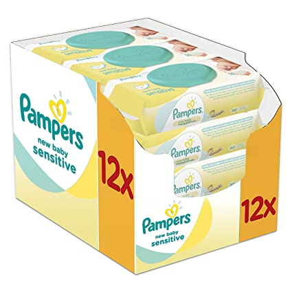 Pampers New Baby Wet Wipes Sensitive, Paquete de 12 (12 x 50 piezas)