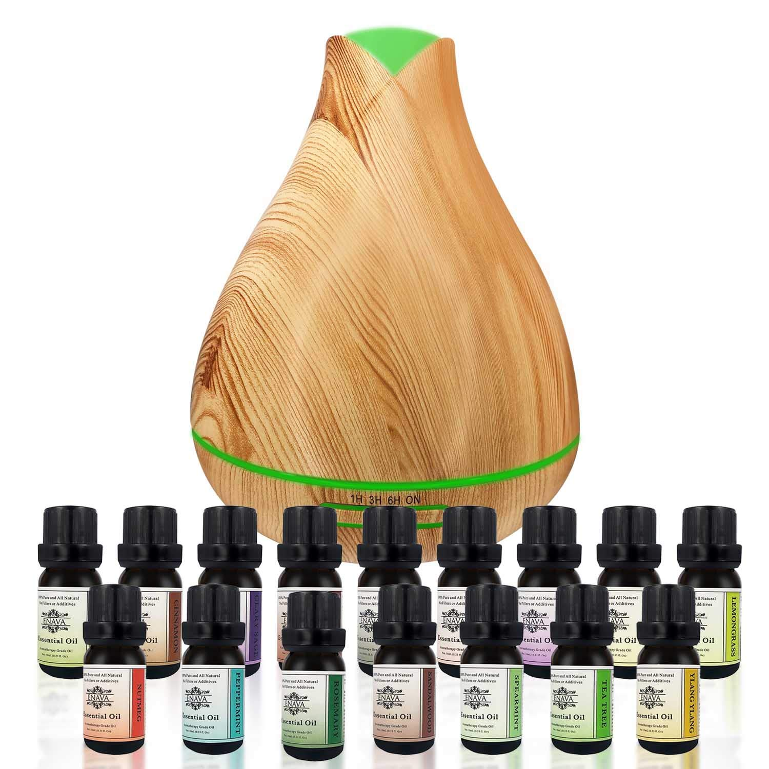 Enava Essential Oil Diffuser Aromatherapy Humidifier Gift Set - Extreme Cool Mist Output -350ml Top 16 Oils-Eucalyptus Lavender - Waterless Auto Shut-Off 7 color LED - Therapeutic Grade Aroma Oils