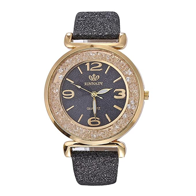 Amazon.com: Womens Watch,Fashion Crystal Stainless Steel Bracelet Bling Analog Quartz Ladies Watch Axchongery (Black): Clothing