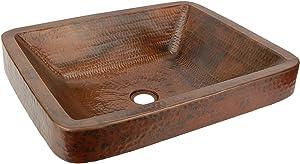 Premier Copper Products VREC19SKDB Rectangle Skirted Vessel Hammered Copper Sink, Oil Rubbed Bronze