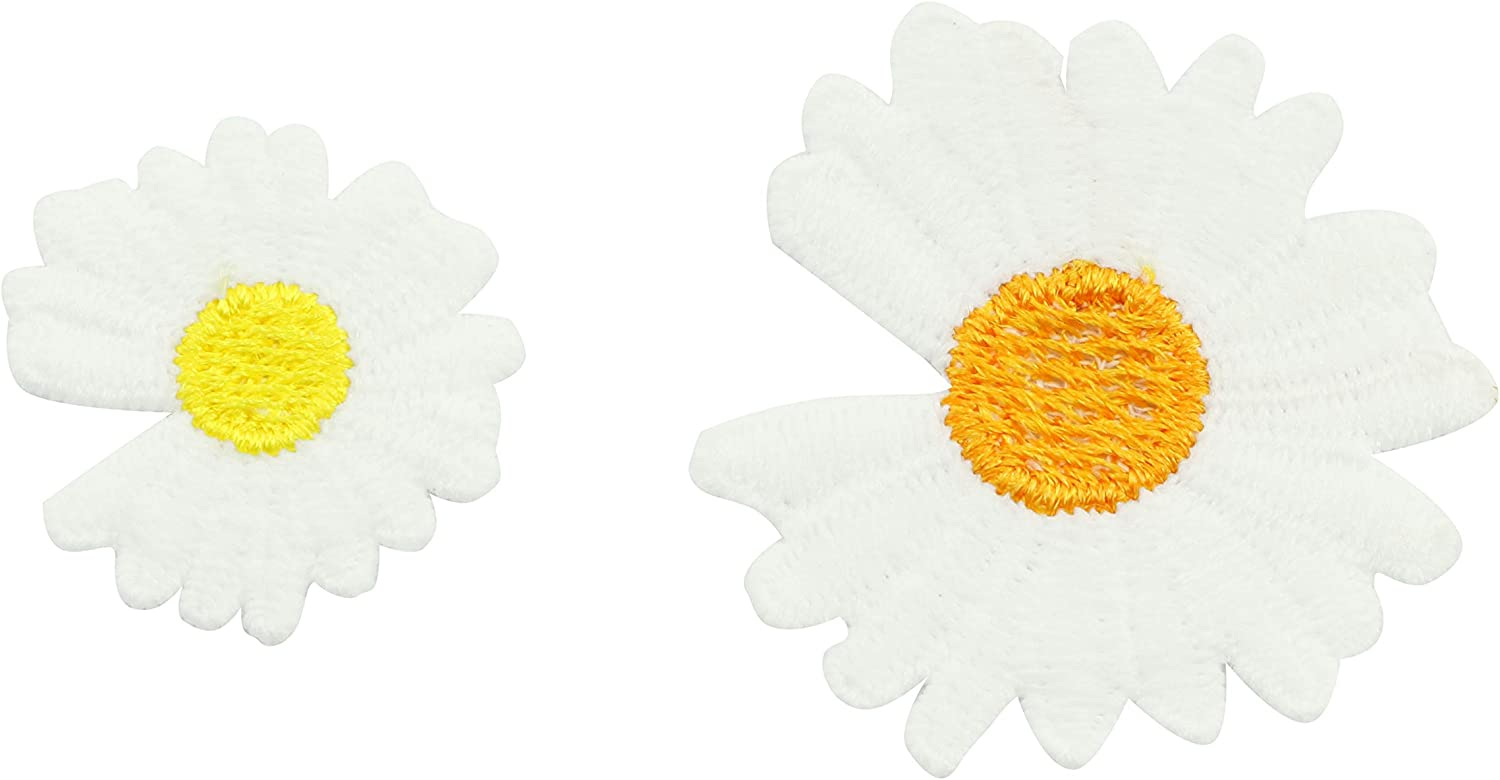 NX Garden 12pcs Small Daisies White Flower Patch Embroidery Sticker Sew On Patches for Clothing Applique Embroidery DIY Clothing Accessories