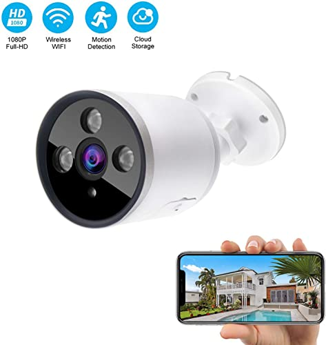 Outdoor WiFi Security Camera Work with Alexa,1080P 2.4G WiFi Night Vision Security Cameras with Two-Way Audio,Cloud Storage,IP66 Waterproof,Motion Detection,Activity Alert,Deterrent Alarm