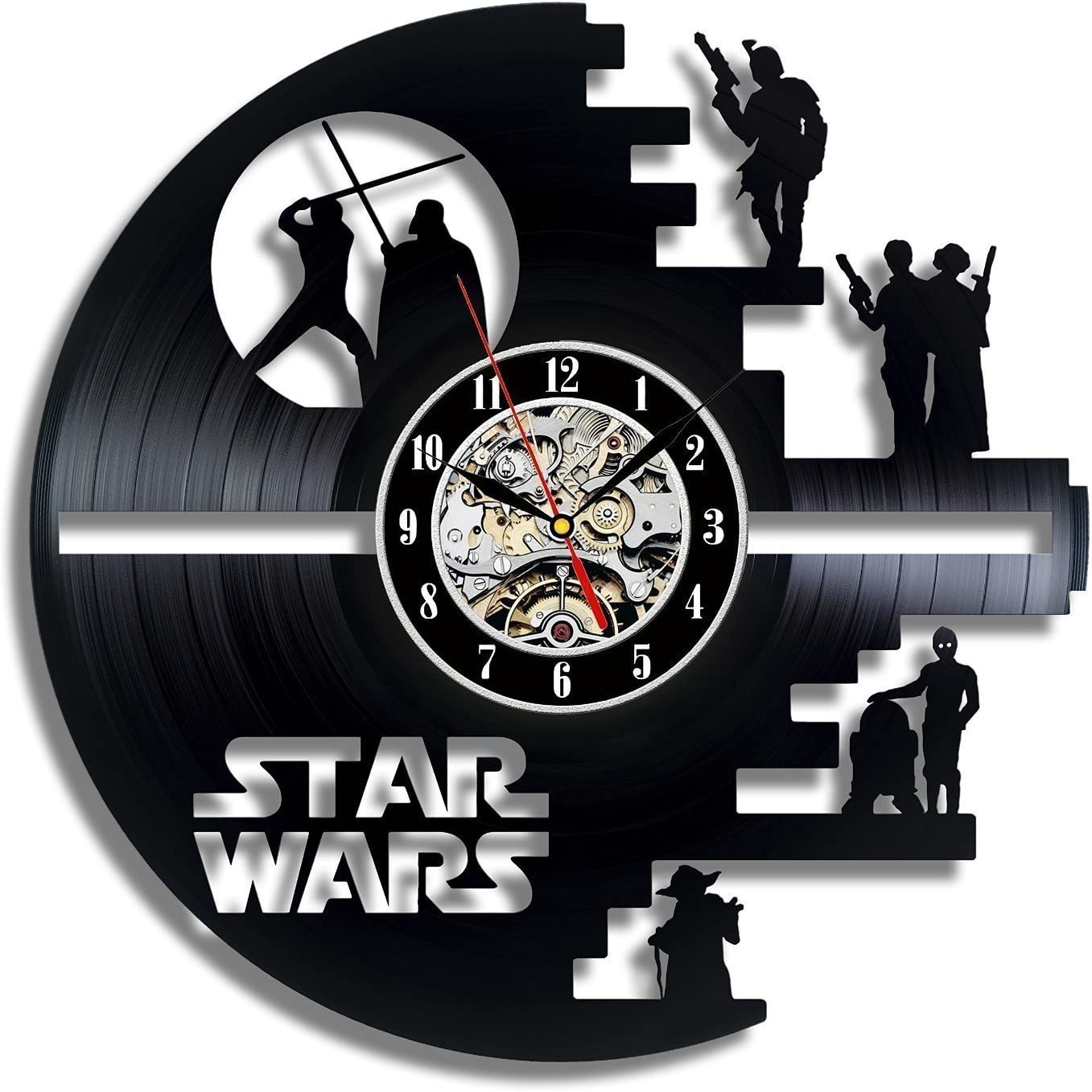 Meet Beauty Ding Vinyl Star Wars Death Star diseñado Reloj de Pared LP Record -Decorate tu hogar con Moderno Grande Darth Vader Classic Vintage Art 30CM Círculo Negro