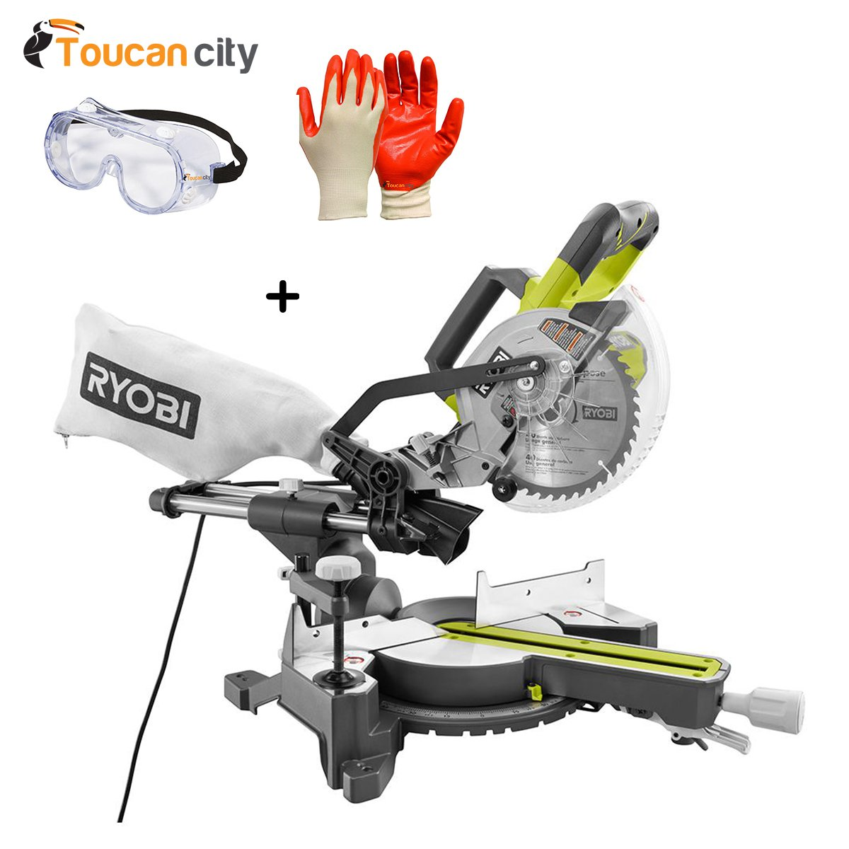 Ryobi 10 Amp 7-1/4'' Miter Saw TSS701 and Toucan City Safety Goggles and Nitrile Dip Gloves (5-Pack)