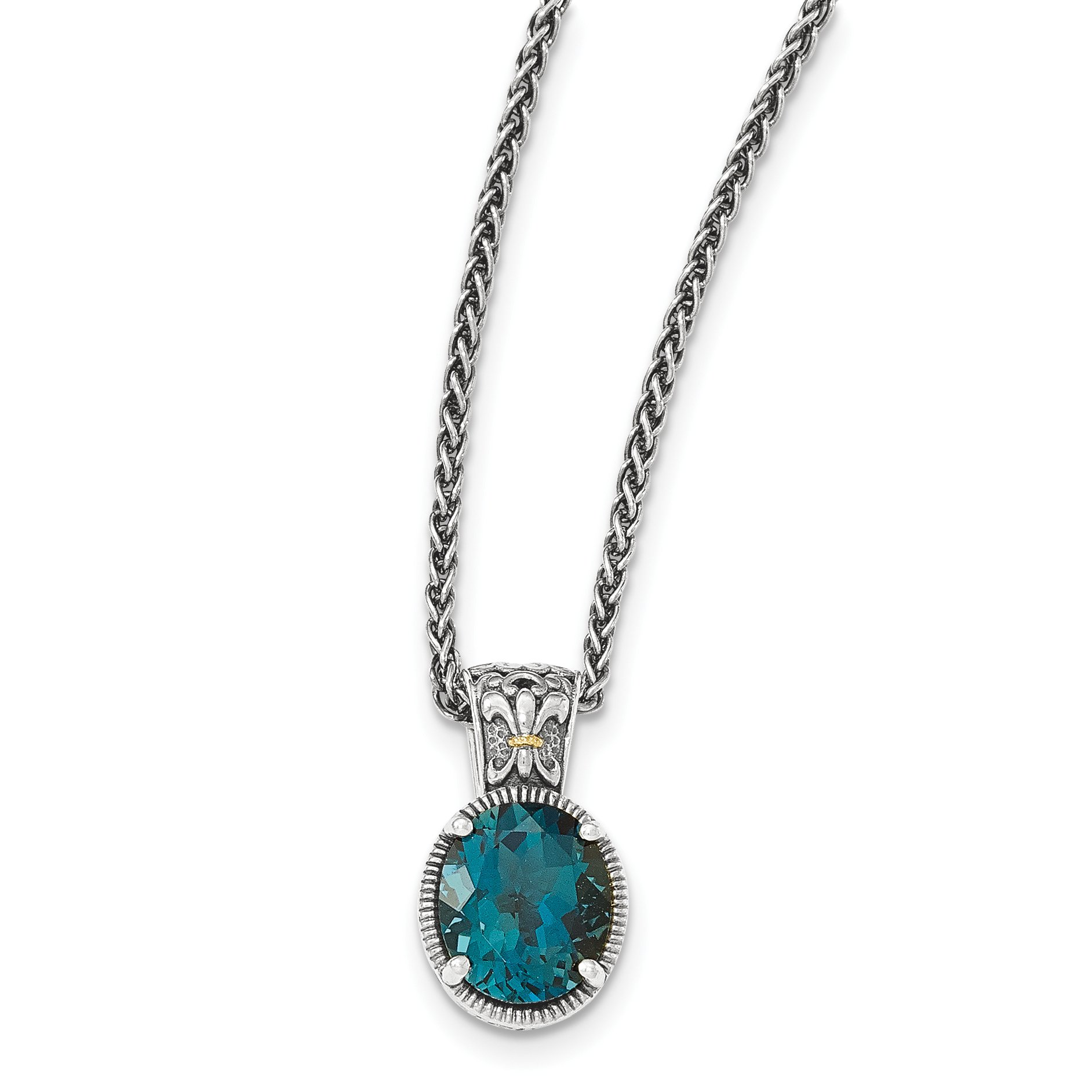 ICE CARATS 925 Sterling Silver 14k London Blue Topaz Chain Necklace Gemstone Fine Jewelry Gift Set For Women Heart