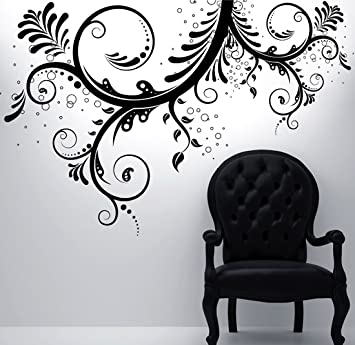 Stickerbrand Floral Décor Vinyl Wall Art Flower Ornaments Wall Decal  Sticker   Black, 44u0026quot;