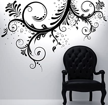 Stickerbrand floral décor vinyl wall art flower ornaments wall decal sticker black 44