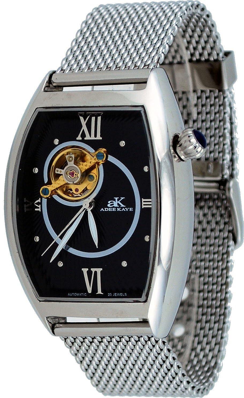 Adee Kaye # ak6473-m Men 'sステンレススチールMesh Band Open Heart Skeleton Automatic Watch B008SZ3SJO