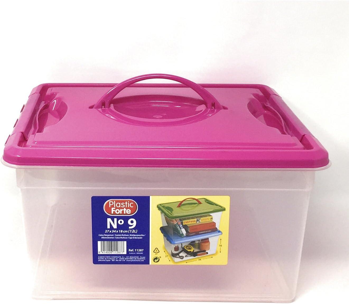 Plastic Forte - Caja de ordenación 12 litros con Tapa Rosa: Amazon ...