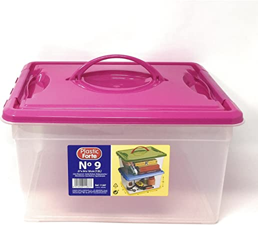 Plastic Forte - Caja de ordenación 12 litros con Tapa Rosa: Amazon.es: Hogar