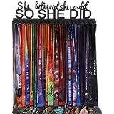 Goutoports Medal Holder Display Hanger Rack Frame for Sport Race Runner-She Believed She Could -Sturdy Black Steel Metal…