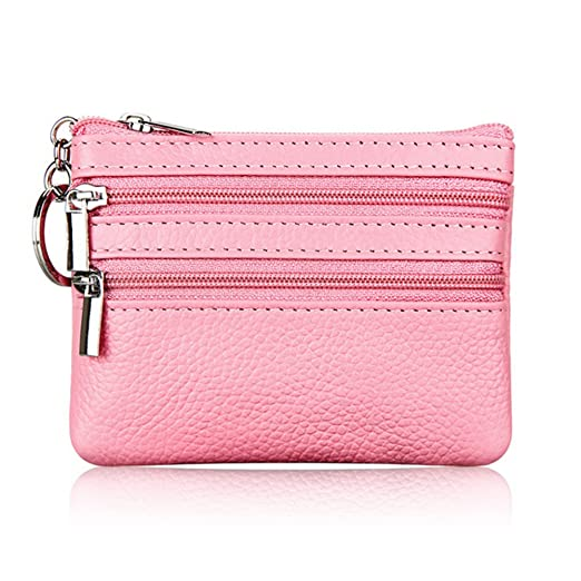 ALALEI Womens Mini Cute Genuine Leather Wallet Soft Coin Purse with Key  Ring Chain and Zipper 87ce18fa94