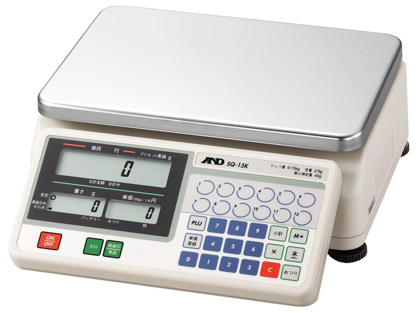 A&D 検定付き店舗用料金はかり SQ-15K ひょう量:15000g 最小表示:2~5g(使用範囲:40~15000g) 皿寸法:300(W)*210(D) mm 検定付:5地域 使用地域区分:5区 B0734B1DF6