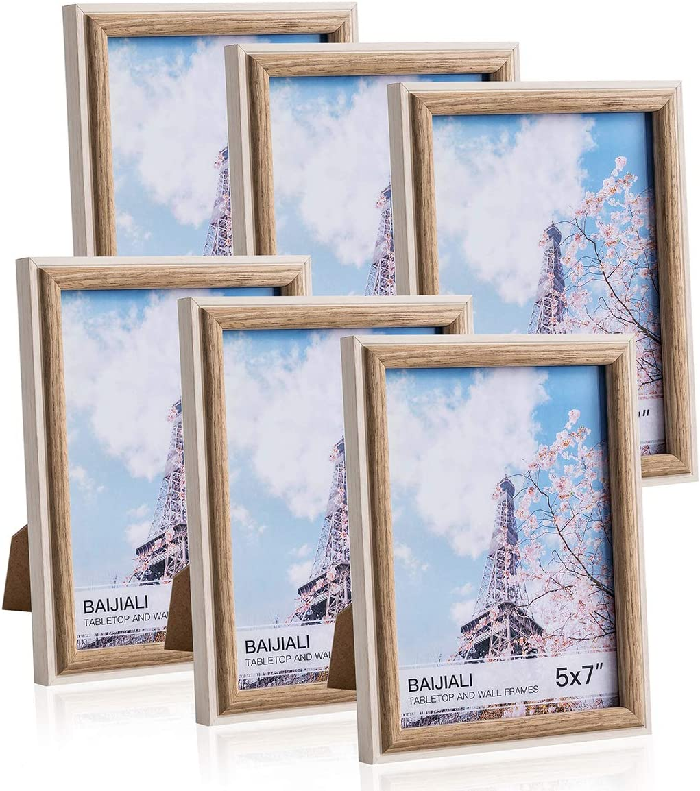 BAIJIALI 5x7 Picture Frame Wood Patten Oak&White Photo Frames Packs 6 with High Difinition Glass for Tabletop or Wall Decor