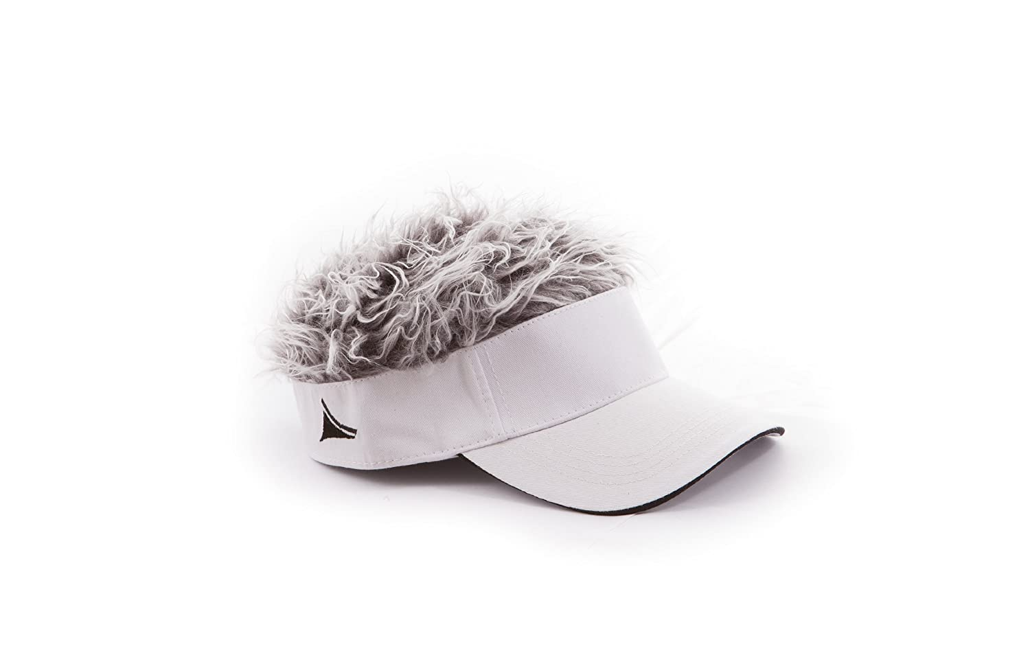 Flair Hair Visor with Grey Hair (White) Concept One FHVSWG-White/Grey