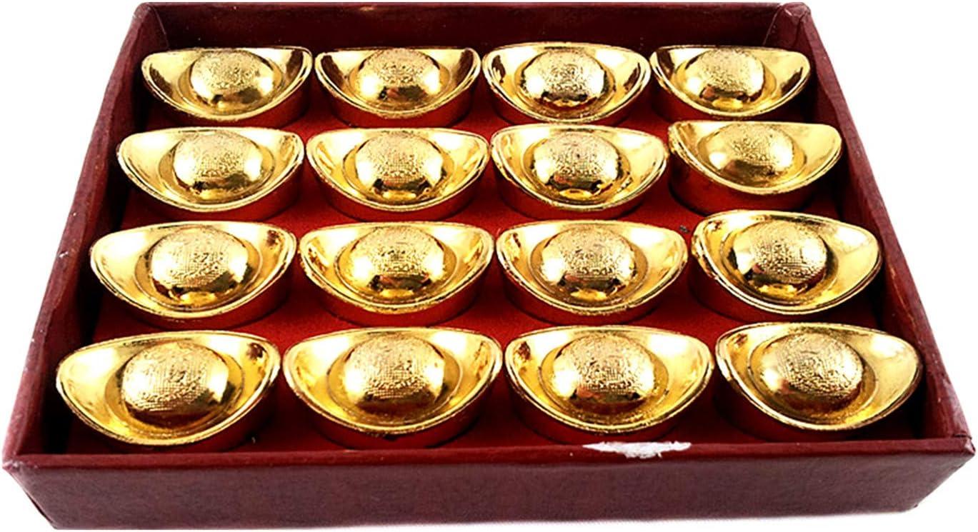 Betterdecor Feng Shui Gold Ingot Yuan Bao Home Office Decor for Wealth Luck (with a Gift Bag)