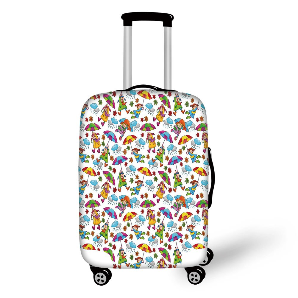 Travel Luggage Cover Suitcase Protector,Kids,Cute Girls in Coats Holding Umbrellas Windy Autumn Weather Rainy Clouds Falling Leaves,Multicolor,for Travel