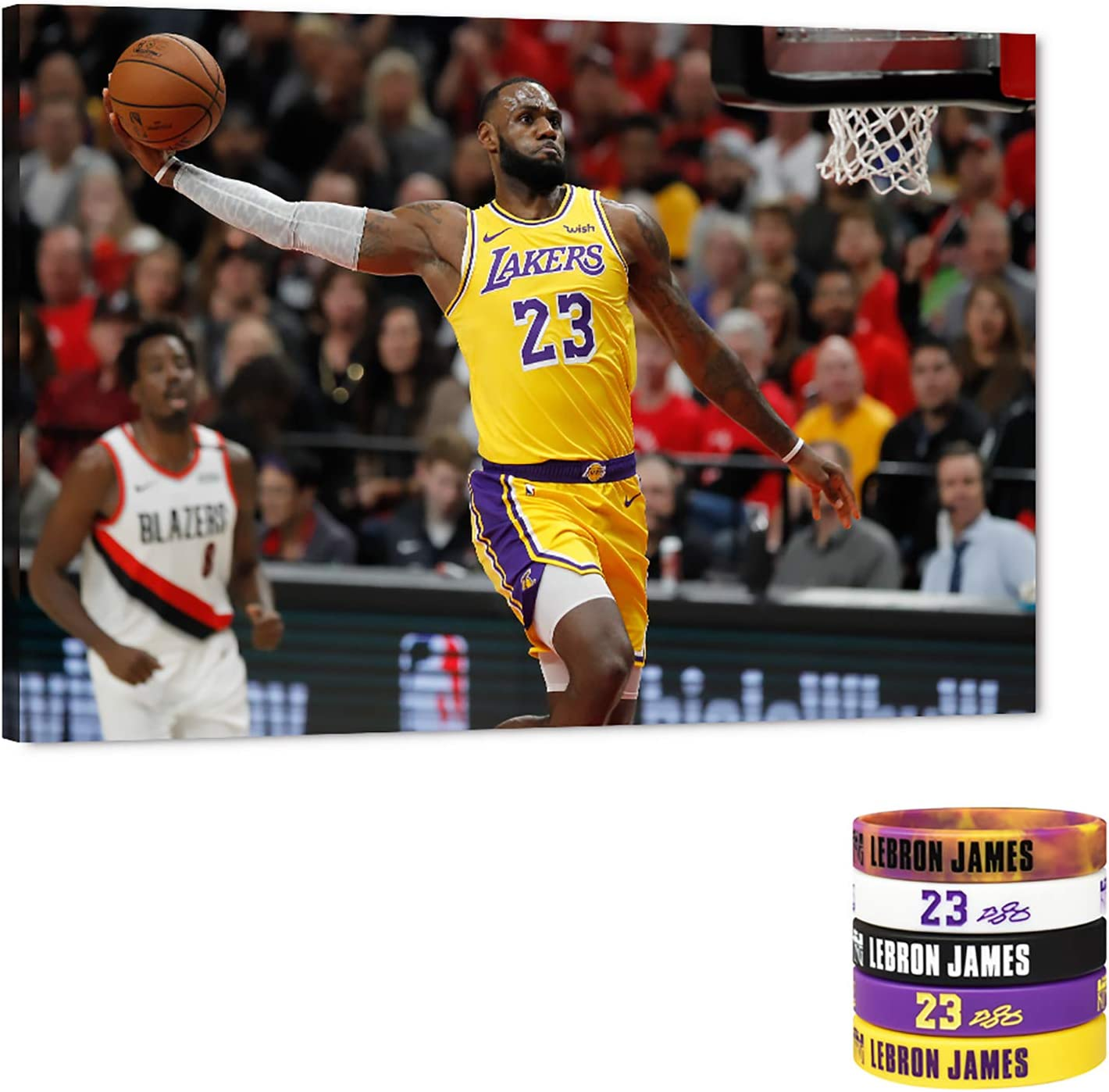 Amazon Com Lebron James Dunks Canvas Wall Art Los Angeles Lakers 23th Picture Nba Super Star Art Work For Home Wall Decor Lebron James Posters For Men Boys Room Decorations For Bedroom Office