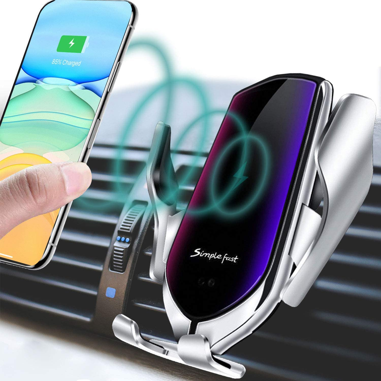 Smart Sensor Wireless Car Charger Mount New Model 2020 10W Qi Fast Charging Auto-Clamping Car Mount Air Vent Phone Holder Compatible with iPhone-Samsung,etc. Silver