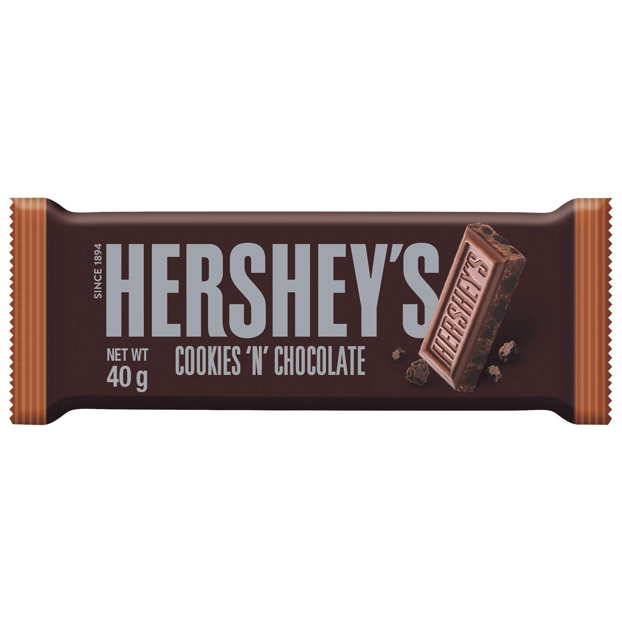 Hershey's Cookies 'n' Chocolate Bar, Chocolate Flavour with Cookie Pieces, 40 g                Hershey's Kisses with Almond, 150g                Iconic American Chocolates Selection Box Full Size Bars Best Hersheys Chocolate Gift for Any Occasion                Hershey's Chocolate Syrup 680g                Hershey's Miniatures Assortment, 56-Ounce Bag (Original Version)