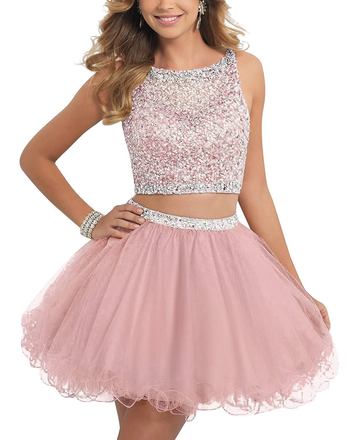 Amazon.com: ALW Short Beaded Homecoming Dress Two Pieces Mini Tulle ...