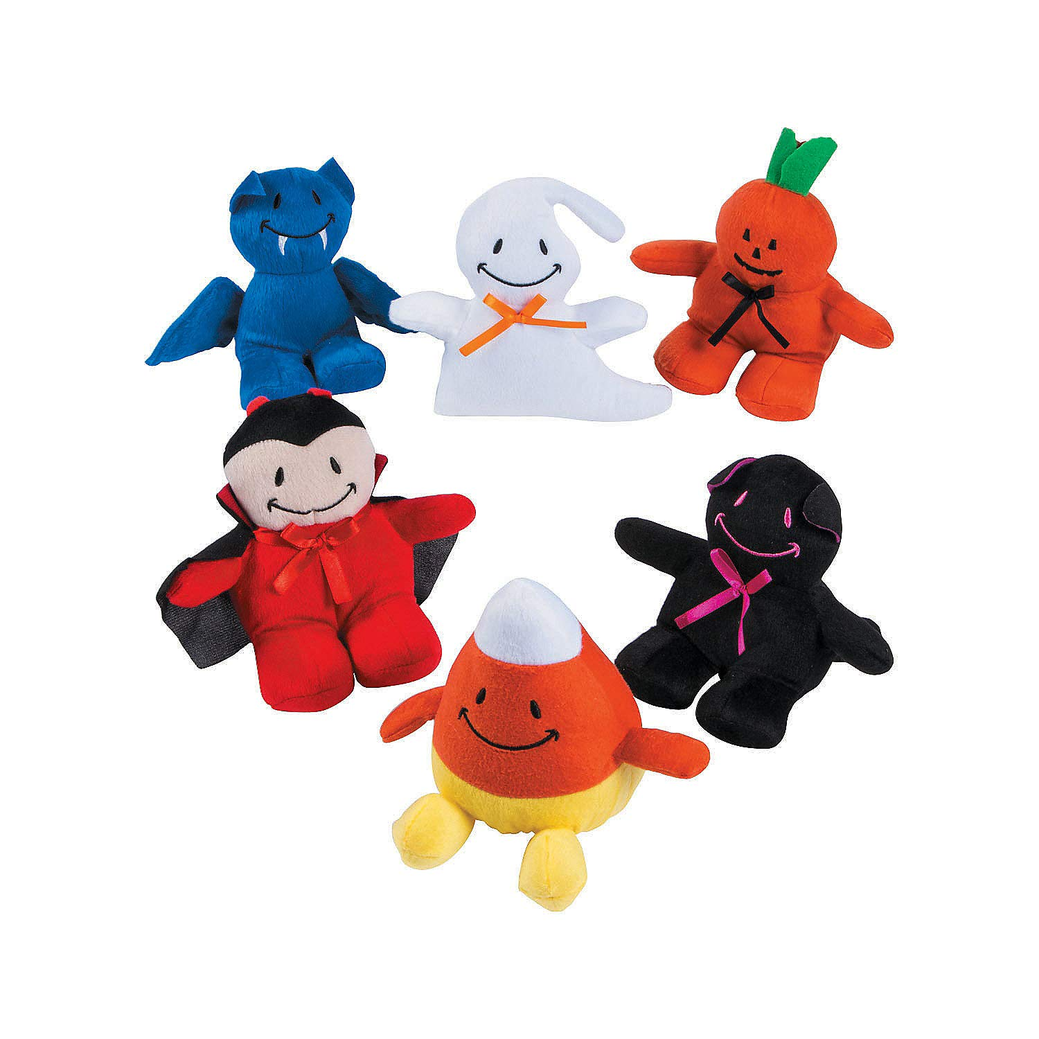 Fun Express - Smile Face Monster Plush Assortment for Halloween - Toys - Plush - Bean Bag Animals - Halloween - 12 Pieces by Fun Express