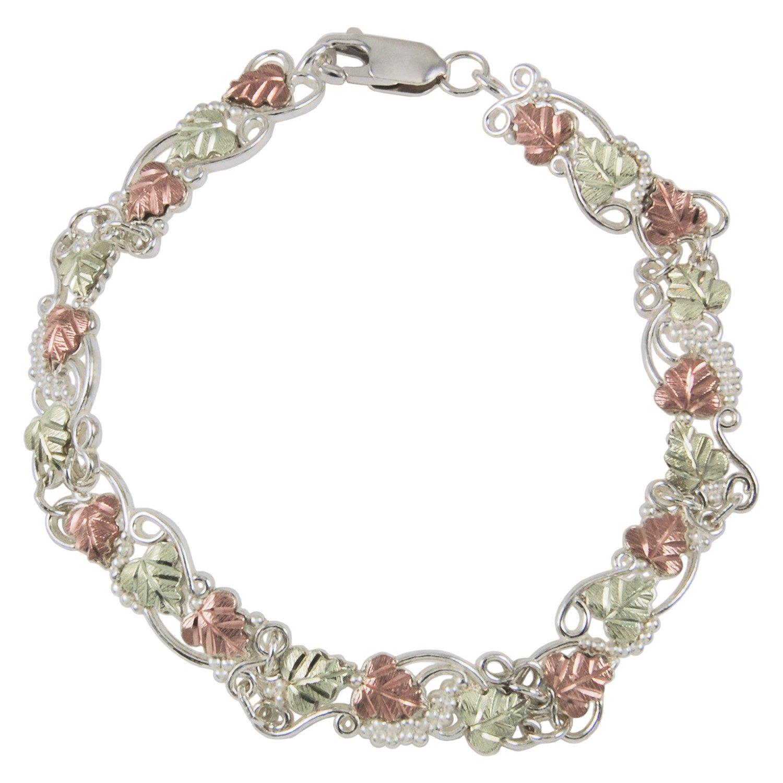 Filigree Leaf Line Bracelet, Sterling Silver, 12k Green and Rose Gold Black Hills Gold Motif, 7''