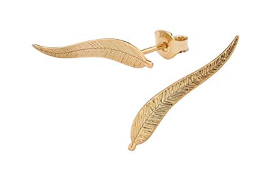 158e6382231c5 ARLIZI Women 925 Silver Rose Gold Plated Leaf Feather Earrings 25 mm ...