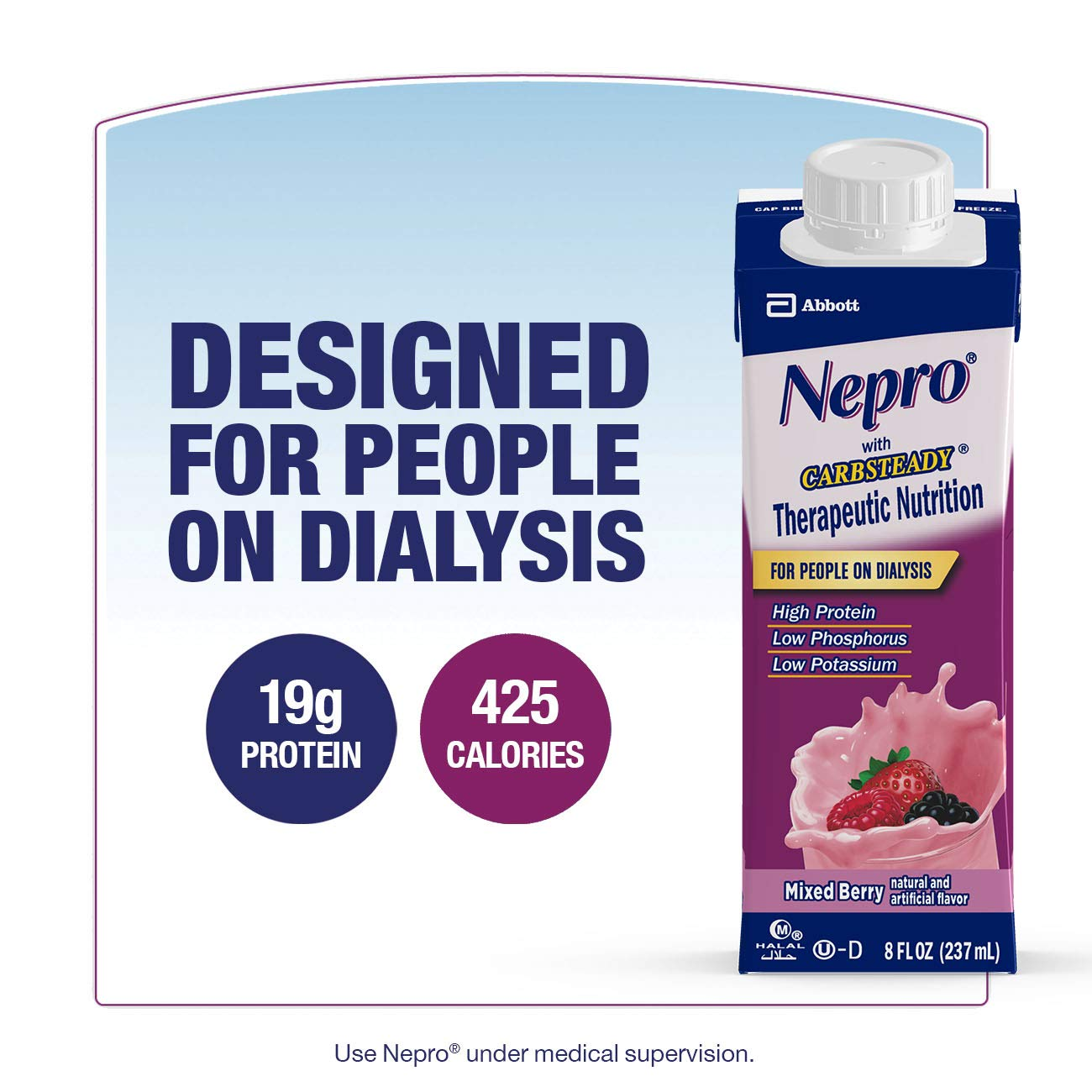 Nepro Therapeutic Nutrition Shake with 19 grams of protein, Nutrition for people on Dialysis, Mixed Berry, 8 fl ounces, (Pack of 24) by Nepro (Image #2)